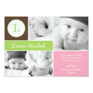 Modern Initial Birth Announcements - Pink