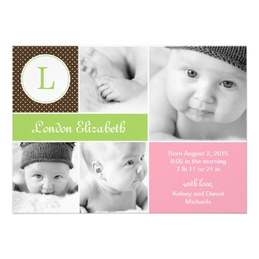 Modern Initial Birth Announcements - Pink Cards