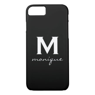 Modern Initial Monogram - Classic Black and White iPhone 8/7 Case