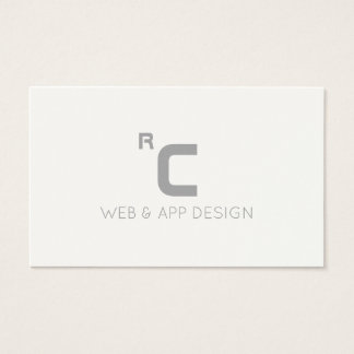 Modern initials logo futuristic style white grey business card