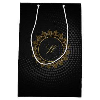 Modern Intricate Monogram on Black Circular Medium Gift Bag