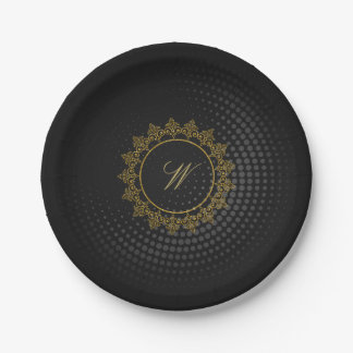 Modern Intricate Monogram on Black Circular Paper Plate