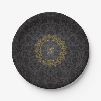 Modern Intricate Monogram on Black Damask Paper Plate