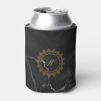 Modern Intricate Monogram on Black Marble Can Cooler