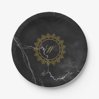 Modern Intricate Monogram on Black Marble Paper Plate