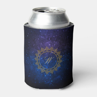 Modern Intricate Monogram on Blue Galaxy Can Cooler