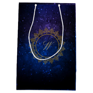 Modern Intricate Monogram on Blue Galaxy Medium Gift Bag