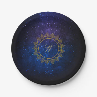 Modern Intricate Monogram on Blue Galaxy Paper Plate