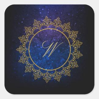 Modern Intricate Monogram on Blue Galaxy Square Sticker