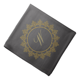 Modern Intricate Monogram on Chalkboard Bandana