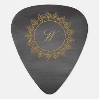 Modern Intricate Monogram on Chalkboard Plectrum