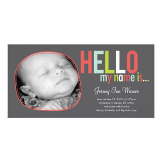Modern Introduction Baby Birth Announcement Customized Photo Card