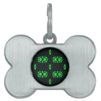 Modern Irish Green Geometric Pattern Pet Name Tag