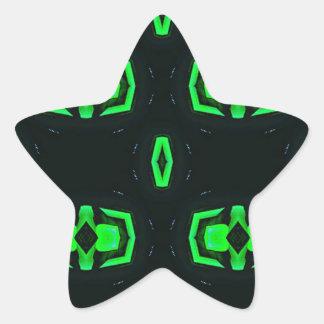 Modern Irish Green Geometric Pattern Star Sticker