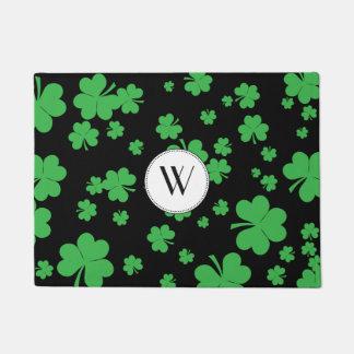 Modern Irish shamrock clover monogram door mat