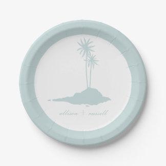 Modern Island Beach Wedding - Blue 7 Inch Paper Plate