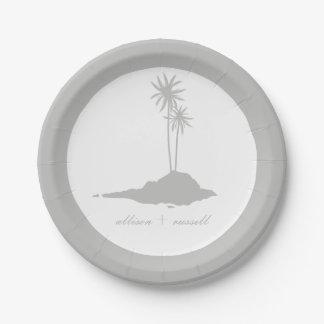 Modern Island Beach Wedding - Gray 7 Inch Paper Plate