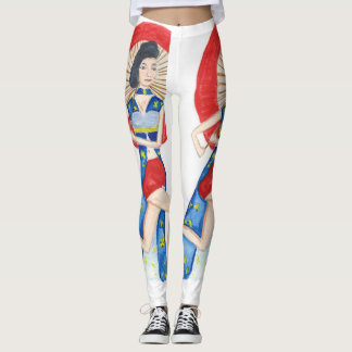 Modern Japanese Woman in Red and Blue Leggings