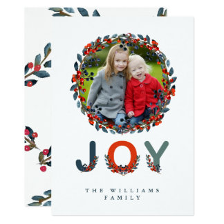 Modern Joy Holiday Berries Vertical Holiday Photo Card