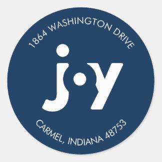 Modern Joy Navy Holiday Return Address Label Round Sticker