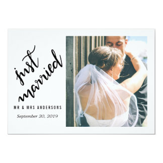Modern Just Married Handwritten Wedding Photo Card