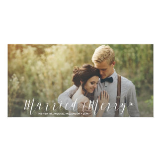 Modern Just Married Merry Newlywed Holiday Photo Card