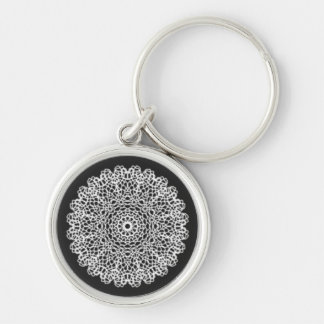 Modern kaleidoscope pattern Silver-Colored round keychain