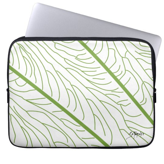 Modern Kalo Leaf - White Laptop Sleeve