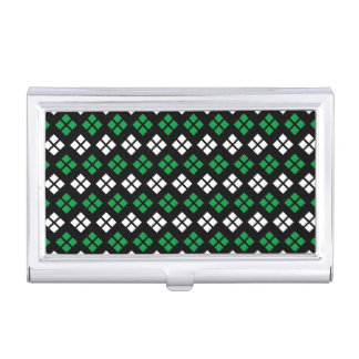 Modern Kelly Green & White Argyle Pattern on Black Business Card Holder