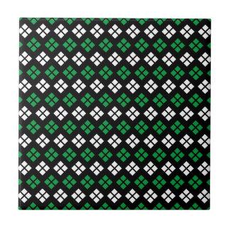 Modern Kelly Green & White Argyle Pattern on Black Ceramic Tile