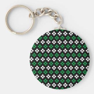 Modern Kelly Green & White Argyle Pattern on Black Key Ring