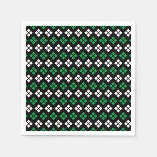 Modern Kelly Green & White Argyle Pattern on Black Paper Napkins