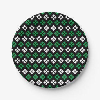 Modern Kelly Green & White Argyle Pattern on Black Paper Plate