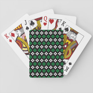 Modern Kelly Green & White Argyle Pattern on Black Playing Cards