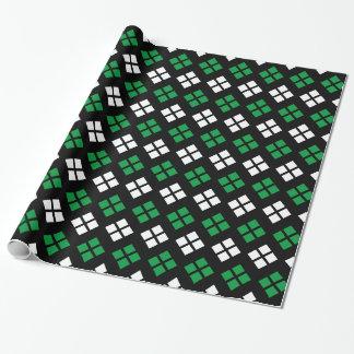 Modern Kelly Green & White Argyle Pattern on Black Wrapping Paper