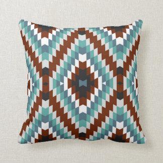 Modern Kilim Pattern Rust and Aqua Throw Pillow