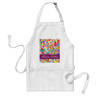 Modern Kitchen-Colorful Rectangle and Dot Pattern Standard Apron