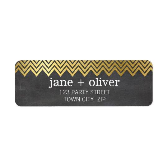 MODERN LABEL chevron pattern gold foil chalkboard Return Address Label