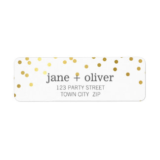 MODERN LABEL cute confetti spots gold foil Return Address Label
