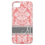 Modern Lace Damask Pattern - Coral and Gray iPhone 5/5S Cases