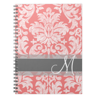 Modern Lace Damask Pattern - Coral and Gray Note Books