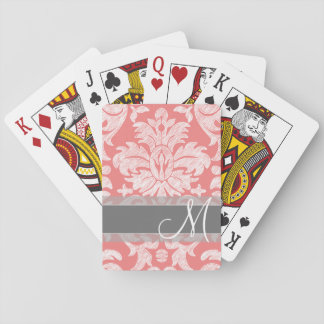 Modern Lace Damask Pattern - Coral and Gray Playing Cards
