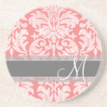 Modern Lace Damask Pattern - Coral and Grey