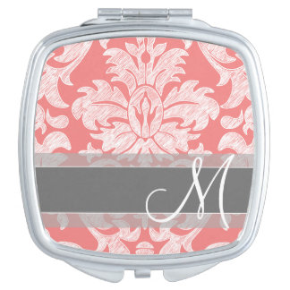 Modern Lace Damask Pattern - Coral and Grey Vanity Mirror