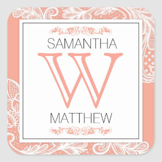 Modern Lace Wedding Gift Label Square Sticker