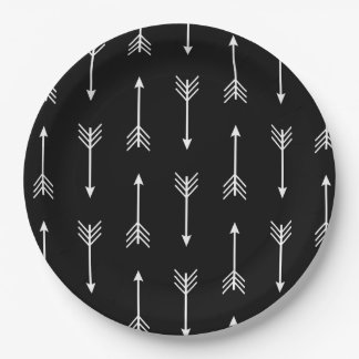 Modern Large White Arrows & Black Paper Plate