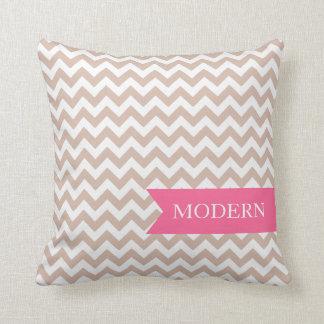 Modern Latte Macchicato Zigzag Pillow
