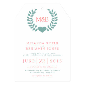 Modern Laurel Monogram Wedding Invitation