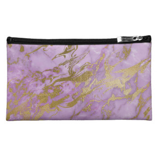 Modern Lavender Marble and Gold Cosmetic Bag