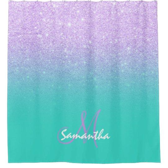 Modern lavender purple glitter turquoise monogram shower curtain